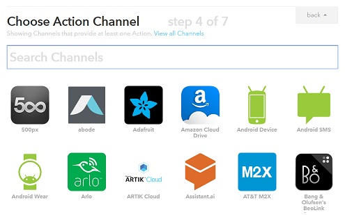 IFTTT action channel selection