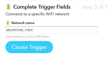 IFTTT create recipe trigger fields
