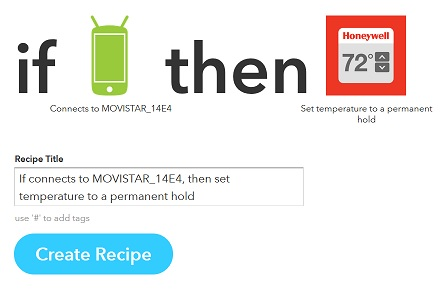 IFTTT receipe creation