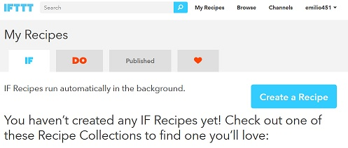 IFTTT recipe starting point