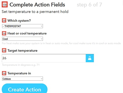 IFTTT thermostat action