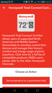 DO app Honeywell action